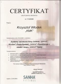 Certyfikat SANHA